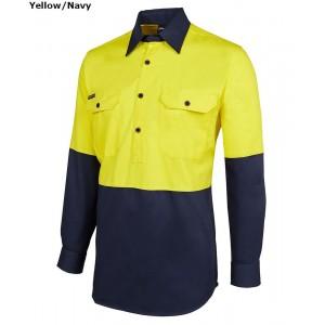 JBs Hi Vis 190g Close Front Shirt Long Sleeve