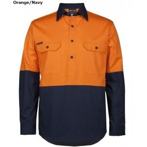 JBs Hi Vis 150G Work Shirt Close Front Long Sleeve